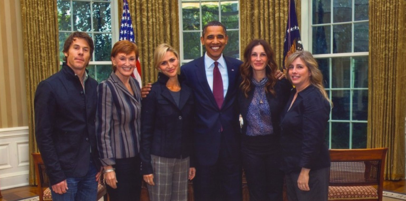 Kathy meeting President Obama – following a one hour interview with Hillary Clinton and Julia Roberts